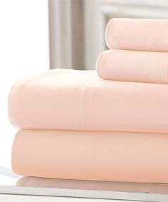 Take a look at this Peach Cotton Deep-Pocket Sheet Set today!