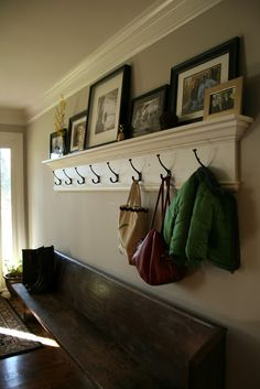 Easy to do entryway with hooks and photo ledge!
