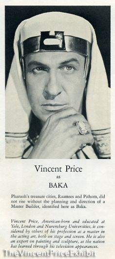 Vincent Price as Baka, the pharoah's master builder. The Ten Commandments 1956