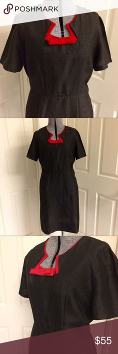 VINTAGE perfection ❤️ Gorgeous vintage little black dress! VERY mid-century, 1950s style. No material/care or size tags, the designer label is pictured. Fabric is likely raw silk based on appearance and texture. TWO dresses in ONE! Just remove the red collar (bow is also removable) & add a belt of your choice. Beautiful & classy dress for the upcoming holidays. Pin-up girl style too! 👠Measurements: length 36, bust 36/38, waist 30. NO stretch to the fabric. Pull-on style dress with side zip…