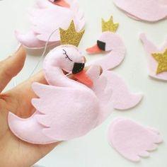 Swan Princess felt ornament swan decoration Stuffed swan baby
