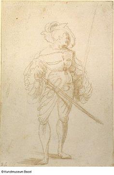 """""""Bannerträger von vorne, den Kopf nach rechts ins Profil gewendet"""" (Standardbearer with head turned to the right), Urs Graf. 1520/1521."""