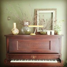 Great way to decorate the top of a piano