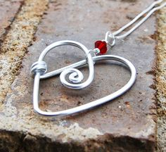 wire heart & bead