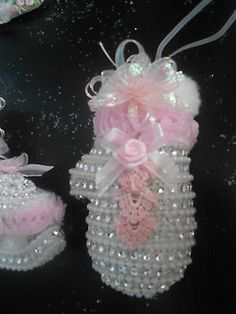 shabby  victorian christmas ice skate & mitten ornaments chic pink roses lace