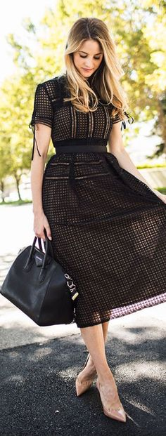 Black Eyelet Midi Dress Fall Inspo by Ivory Lane