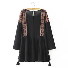 Women vintage Embroidery dress retro long sleeve O-neck dress black loose Vestidos femininos causal dress QZ2241