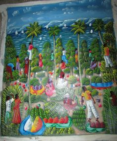 Haiti Oil on Canvas Painting Haitian Tropic Shore Scene Signed by Artist 20x23.5