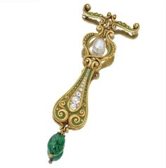 Gold, diamond, emerald and pearl pendant brooch, Marcus & Co., circa 1900. Set with old European-cut diamonds weighing approximately .70 carat, suspending an emerald drop measuring approximately 8.6 by 7.8 mm., and a drop-shaped pearl, applied with bright green enamel, signed M & Co. for Marcus & Co., one diamond missing.