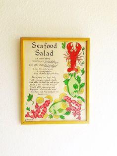 Vintage Framed Seafood Salad Picture Hand