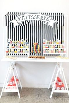 Take a look at this stunning Paris themed 1st birthday party! The 'patisserie' cupcake and macaron dessert table is gorgeous!! See more party ideas and share yours at CatchMyParty.com #catchmyparty #partyideas #Paris #parisianparty #Madeline #girl1stbirthdayparty