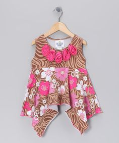 Take a look at this Brown Zoology Handkerchief Tunic - Infant, Toddler & Girls by Corky's Kids on #zulily today!