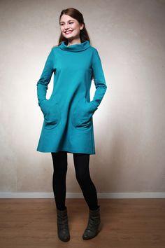 Knielange Kleider - Ella Winterkleid petrol - ein Designerstück von ...