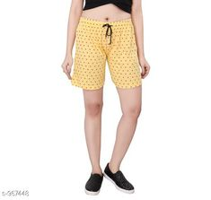 Shorts Stylish Cotton Hosiery Women's Shorts  *Fabric* Cotton Hosiery  *Waist Size* S - 26 in, M - 28 in, L - 30 in  *Length* Up To 18 in  *Type* Stitched  *Description* It Has 1 Piece Of Women's Shorts  *Work* Printed  *Sizes Available* S, M, L *   Catalog Rating: ★4 (464)  Catalog Name: Destiny Fabulous Cotton Hosiery Women's Shorts CatalogID_114450 C79-SC1038 Code: 012-967448-