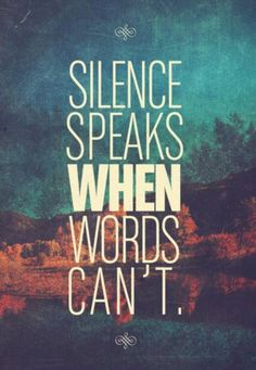 Take notice of the moments when your students are silent...that silence can sometimes mean more than anything they could ever say. See the power in silence, just as you see the power in words.