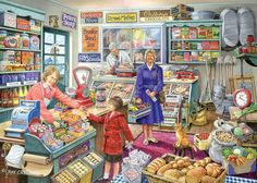 Pennies To Spend - What can I have for tuppence, please? From an original painting by Ray Cresswell. Courtesy of Art Creations. Completed Puzzle Size (approx): x x A Deluxe 1000 piece Jigsaw from The Torbeck Collection by House of Puzzles. Tante Emma Laden, Picture Comprehension, Puzzle Maker, Mind Puzzles, Nostalgic Art, Picture Composition, Picture Writing Prompts, Writing Pictures, Country Art