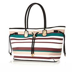White stripe drawstring beach bag £40.00