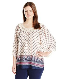 Eyeshadow Womens Plus Size Printed Peasant Top with Applique Neck Trim >>> Click image for more details.