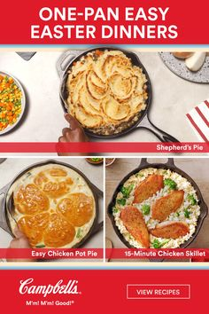 Grab a pan and make an easy Easter dinner the whole family will love! dinner menu ideas main dishes chicken One-Pan Easy Easter Dinners Easy Chicken Pot Pie, Chicken Recipes, Campbells Soup Recipes, Cooking Recipes, Healthy Recipes, Easter Dinner, One Pot Meals, Casserole Recipes, Cake Recipes