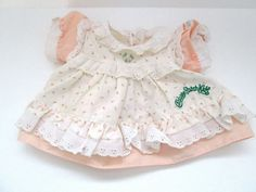 Vintage Coleco Cabbage Patch Doll Clothes Peach Rosebud Dress Eyelet Trim #Coleco #ClothingAccessories