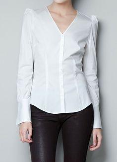 White V Neck Alice Shoulder Long Sleeve Blouse - Sheinside.com