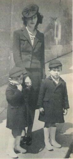 Infantes Gonzalo, left, and Alfonso, sons of Infante Jaime, Duke of Segovia, with their mother, Duchess Emmanuelle