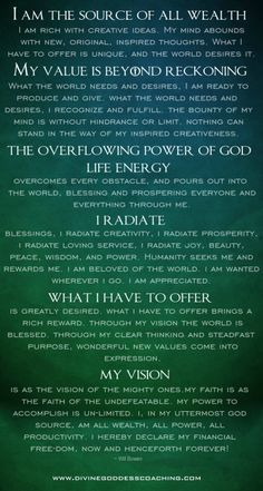 Positive Thoughts Book of Shadows: Prosperity Prayer, from Divine Goddess Coaching. Positive Thoughts, Positive Vibes, Om Sign, Such Und Find, Divine Goddess, A Course In Miracles, Book Of Shadows, Positive Affirmations, Prosperity Affirmations