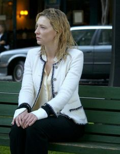 Blue Jasmine, last scene with Cate Blanchett as Jasmine talking alone in a bank in the middle of the street. Great performance.
