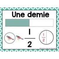 Affiches de fractions pour la classe Représentation de la fraction 1/2 www.lecahierdepenelope.com