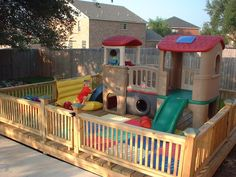 Play area built on a deck – don't have to worry about moving toys to mow! Play area built on a deck – don't have to worry about moving toys to mow! Toddler Play Area, Toddler Playground, Backyard Playground, Playground Ideas, Playground Design, Toddler Bed, Kids Outdoor Play, Outdoor Play Areas, Backyard For Kids
