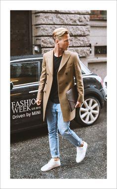 Men's Camel Overcoat, Black Crew-neck T-shirt, Light Blue Skinny Jeans, White…