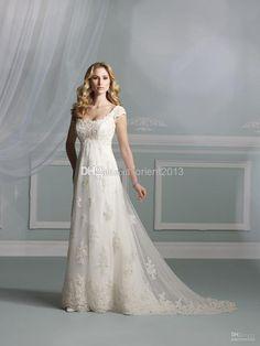 New Arrival 2014 Vintage Scoop Empire Garden Wedding Dresses Lace Bridal Gowns Dress for Bride Lace Chapel Train Short Sleeve Applique Cheap