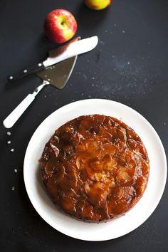 Salted Caramel Apple Upside Down Cake - Pinch of Yum