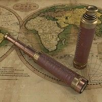 accurate 3d max ancient antique spyglass retro vintage brass exploration marine monocular nautical pirate telescope sailor accurate detailed old treasure sailing ship map vray realistic leather broun glass copper sculpt zbrush art scratched old magnifying glass