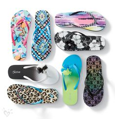 Flip flops in bright, summery prints... the perfect alternative to having your toes buried in the sand!