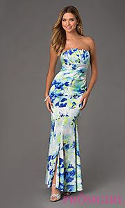 Floor Length Strapless Print Dress at PromGirl