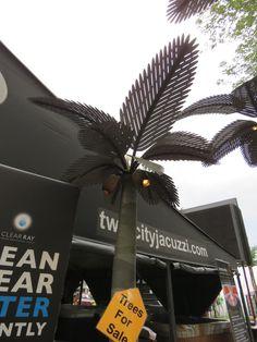 Beautiful metal palm tree art sculptures at the Minnesota State Fair.