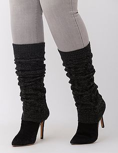 Leg warmers aren't just throw-back trendy; they're soft, cozy and so fun to accessorize! Cable-knit with ribbed cuffs for a secure fit. lanebryant.com