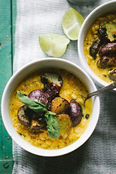 Spiced Lemongrass Coconut Milk Soup w/ Yellow Lentils & Roasted Purple Potatoes