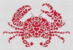 Tribal Crab - Cross Stitch Pattern from White Willow Stitching. Based on the artwork of Jamie Larson. Model stitched on 14 Ct. White Aida with DMC floss. Stitch Count: x Design Size: Cross Stitch Animals, Cross Stitch Kits, Cross Stitch Charts, Cross Stitch Designs, Cross Stitch Patterns, Cross Stitching, Cross Stitch Embroidery, Swedish Weaving, Tapestry Crochet
