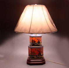 Pagoda Tea Tin Lamp Wooden Base Orange Vtg.