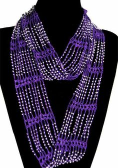 Purple handmade infinity scarf with silver beads. Crochet Bracelet, Bead Crochet, Crochet Baby, Scarf Jewelry, Diy Jewelry, Beading Patterns, Crochet Patterns, Infinity Jewelry, Knooking