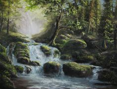 """""""Raging Waterfalls"""" Oil Painting by Kevin Hill Watch short oil painting lessons on YouTube: KevinOilPainting Visit my website: www.paintwithkevin.com Find me on Facebook: Kevin Hill Follow me on Twitter: @Kevin Hill"""
