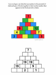 Here are a couple of not so hard brain teasers that will get your math brain a work out. Add the numbers up in the pyramid to figure out what the top number is.