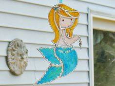Little mermaid in green, stained glass suncatcher window hanging ornament, bathroom decor or gift for child, home decor beach house seashore