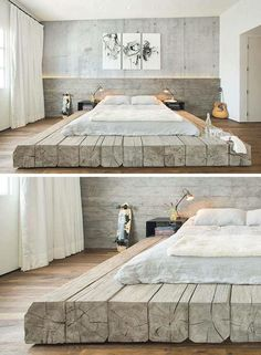 BEDROOM DESIGN IDEA - Place Your Bed On A Raised Platform // This bed sitting on platform made of reclaimed logs adds a rustic yet contemporary feel to the large bedroom. furniture design beds Bedroom Design Idea – Place Your Bed On A Raised Platform Villa Design, Design Hotel, Design Offices, Lobby Design, Bed Platform, Platform Bedroom, Raised Platform Bed, Rustic Platform Bed, Modern Platform Bed