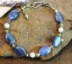 Kyanite & Mother-of-Pearl Bracelet, Unique Bracelet, Summer Jewelry, Beach Jewelry, Handcrafted, Artisan, Handmade, Women's Gift, Present
