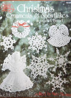 Christmas Ornaments & Snowflakes In Crochet Thread Crochet Patterns by Mary Thomas/Snowflakes, 7 in. Angel, Christmas tree decorations by RedWickerBasket on Etsy