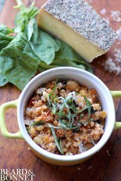 Week 10: White Bean, Spinach, and Couscous Bake {Beard and Bonnet} #glutenfree #vegan option