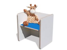Stühle - Kinder Wendehocker – weiß mit blauer Sitzfläche - ein Designerstück von…
